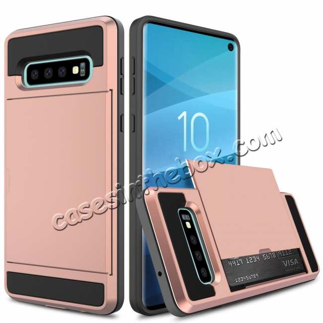 discount For Samsung Galaxy S10 Plus/S10E/Lite Case Cover With Card Wallet Holder Slot - Rose Gold