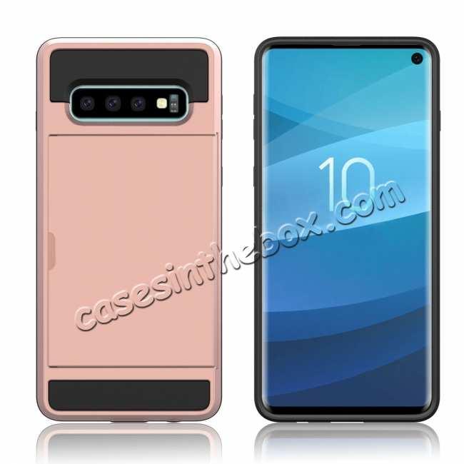 cheap For Samsung Galaxy S10 Plus/S10E/Lite Case Cover With Card Wallet Holder Slot - Rose Gold