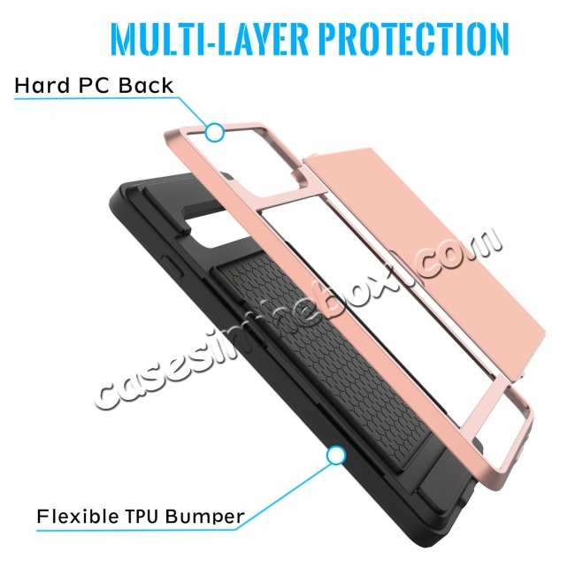 top quality For Samsung Galaxy S10 Plus/S10E/Lite Case Cover With Card Wallet Holder Slot - Rose Gold