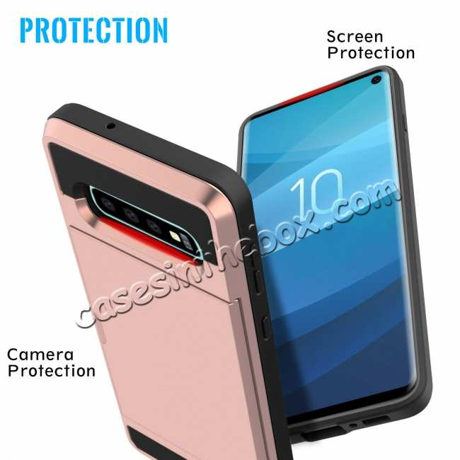 best price For Samsung Galaxy S10 Plus/S10E/Lite Case Cover With Card Wallet Holder Slot - Rose Gold