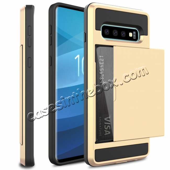 wholesale For Samsung Galaxy S10 Plus/S10E/Lite Case Cover With Card Wallet Holder Slot - Gold