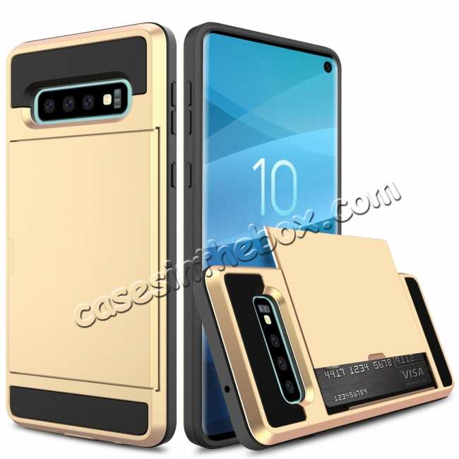 discount For Samsung Galaxy S10 Plus/S10E/Lite Case Cover With Card Wallet Holder Slot - Gold