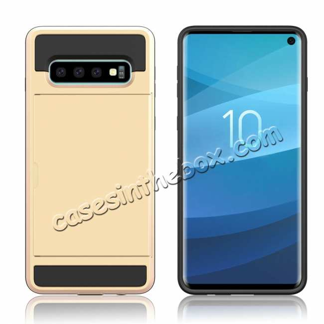 cheap For Samsung Galaxy S10 Plus/S10E/Lite Case Cover With Card Wallet Holder Slot - Gold