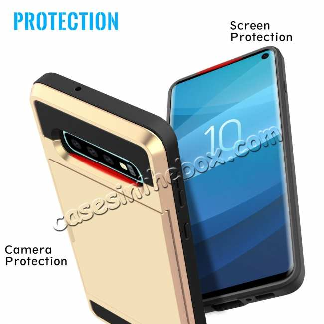 best price For Samsung Galaxy S10 Plus/S10E/Lite Case Cover With Card Wallet Holder Slot - Gold