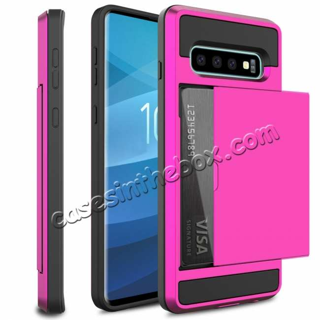 wholesale For Samsung Galaxy S10 Plus/S10E/Lite Case Cover With Card Wallet Holder Slot - Rose