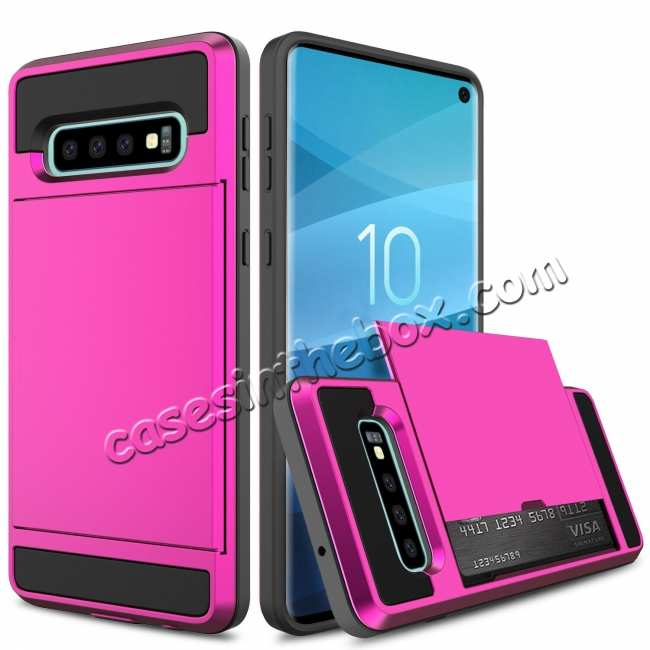 discount For Samsung Galaxy S10 Plus/S10E/Lite Case Cover With Card Wallet Holder Slot - Rose
