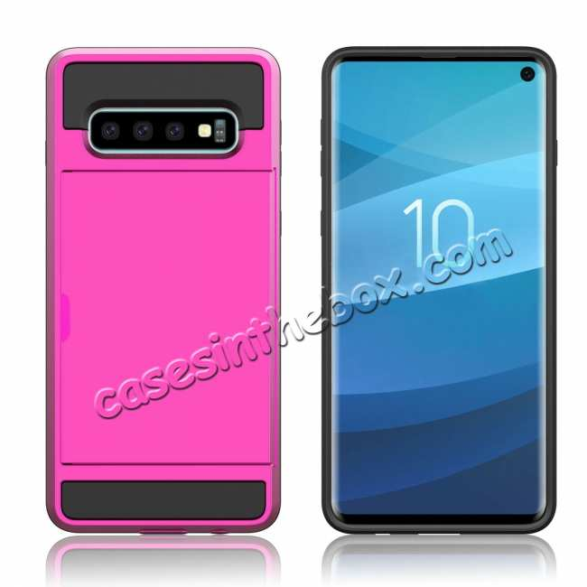 cheap For Samsung Galaxy S10 Plus/S10E/Lite Case Cover With Card Wallet Holder Slot - Rose