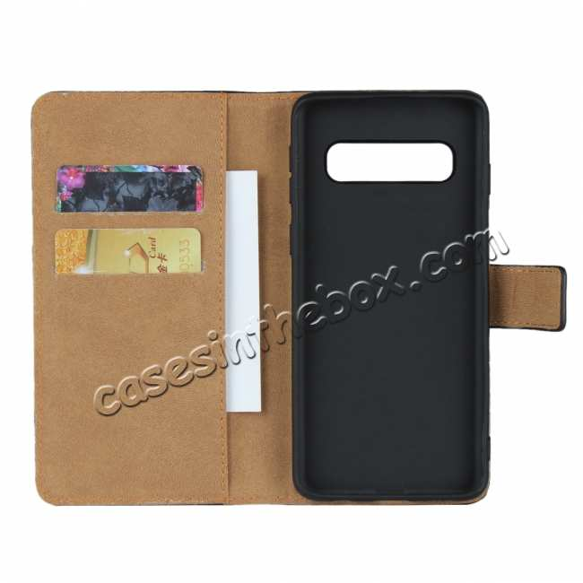 discount Genuine Leather Wallet Stand Flip Card Case Cover For Samsung Galaxy S10/S10E/S10 Plus - Black