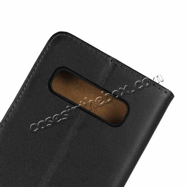 top quality Genuine Leather Wallet Stand Flip Card Case Cover For Samsung Galaxy S10/S10E/S10 Plus - Black