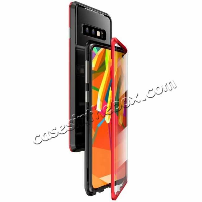 wholesale For Samsung Galaxy S10  Full Protection Magnetic Metal Tempered Glass Case - Black&Red