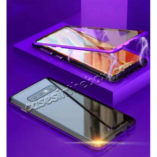 discount For Samsung Galaxy S10  Full Protection Magnetic Metal Tempered Glass Case - Black&Purple