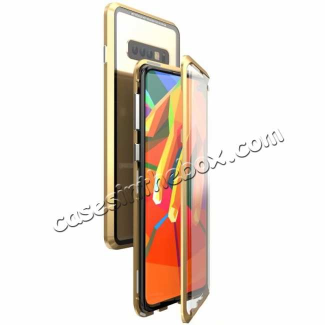 wholesale For Samsung Galaxy S10  Full Protection Magnetic Metal Tempered Glass Case - Gold