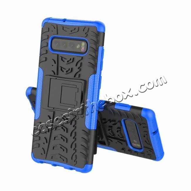 discount Shockproof Armor TPU Hard Stand Case For Samsung Galaxy S10 - Blue