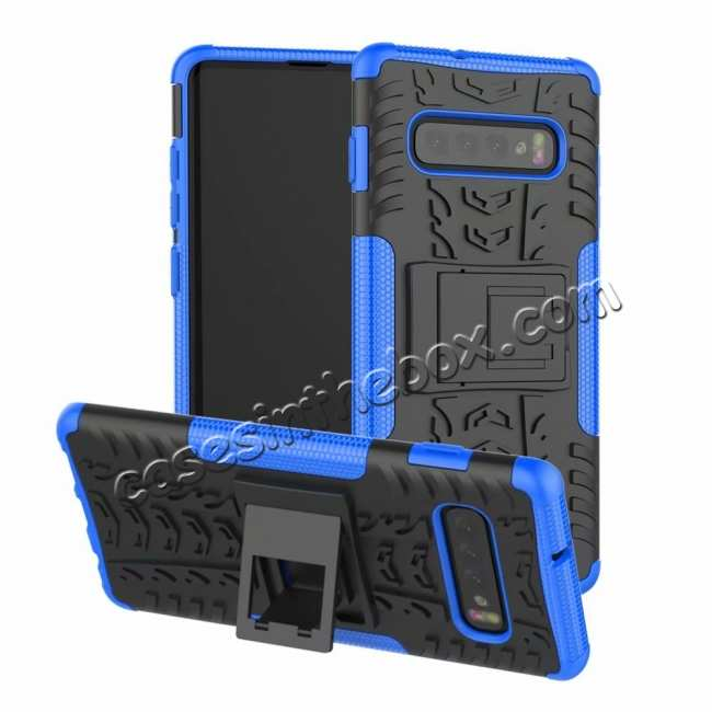 wholesale Shockproof Armor TPU Hard Stand Case For Samsung Galaxy S10 - Blue