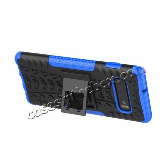 cheap Shockproof Armor TPU Hard Stand Case For Samsung Galaxy S10 - Blue