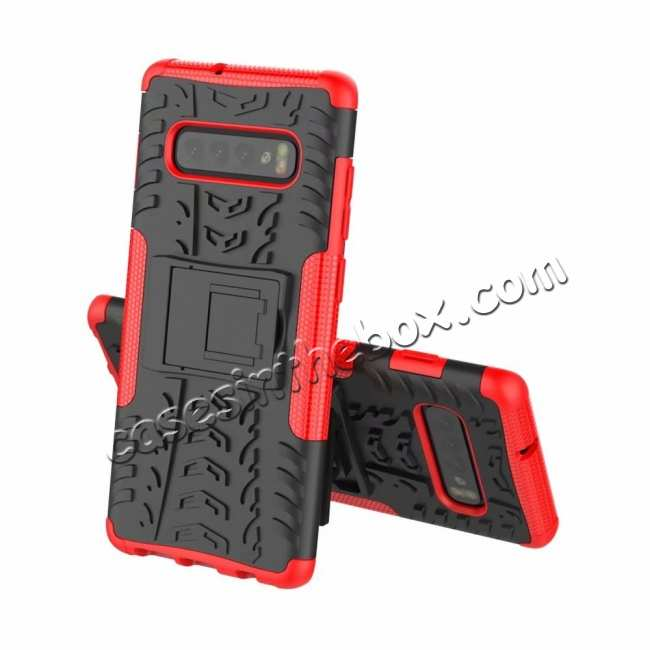 discount Shockproof Armor TPU Hard Stand Case For Samsung Galaxy S10 - Red