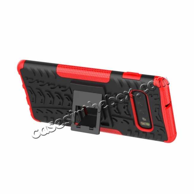 cheap Shockproof Armor TPU Hard Stand Case For Samsung Galaxy S10 - Red