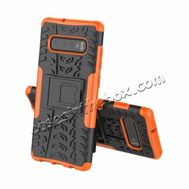 discount Shockproof Armor TPU Hard Stand Case For Samsung Galaxy S10 - Orange