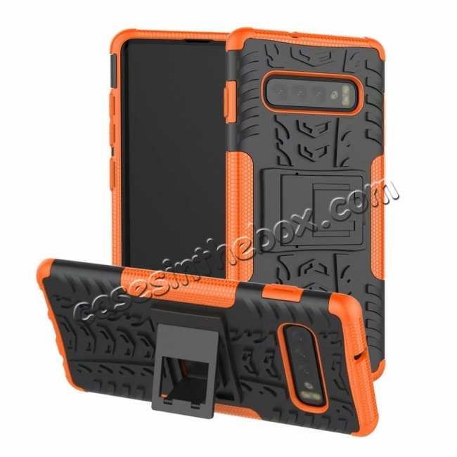 wholesale Shockproof Armor TPU Hard Stand Case For Samsung Galaxy S10 - Orange