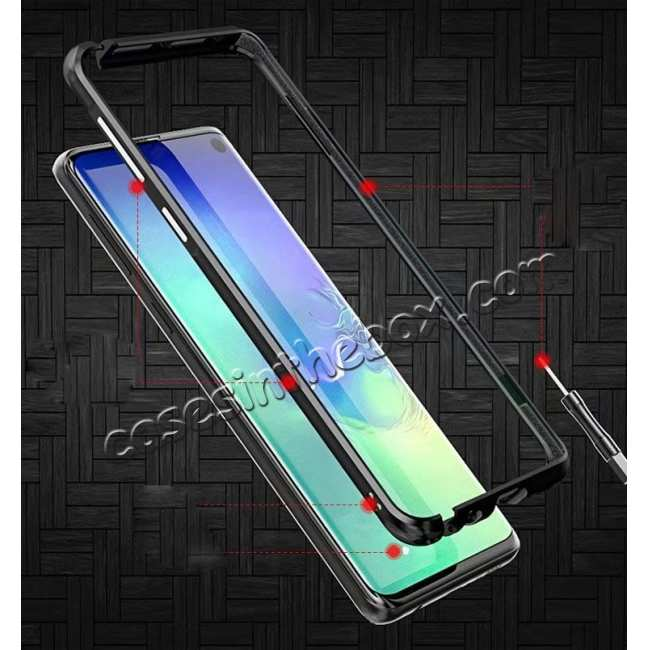 cheap Shockproof Aluminum Metal Frame Case for Samsung Galaxy S10 - Black