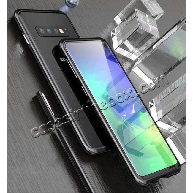 discount Shockproof Aluminum Metal Frame Case for Samsung Galaxy S10 - Black