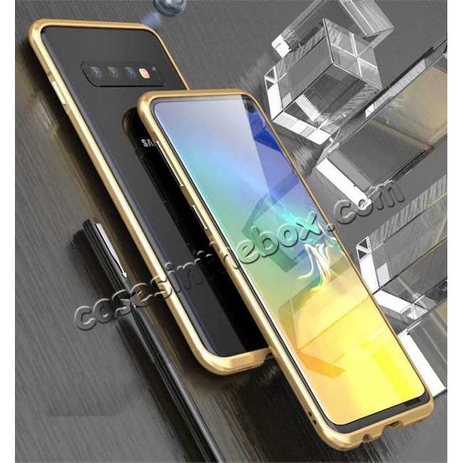 discount Shockproof Aluminum Metal Frame Case for Samsung Galaxy S10 - Gold