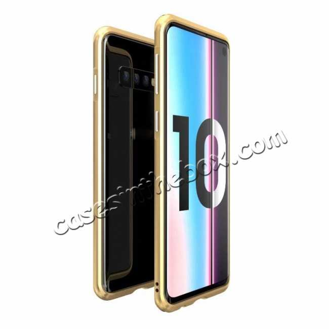wholesale Shockproof Aluminum Metal Bumper Case for Samsung Galaxy S10 Plus - Gold