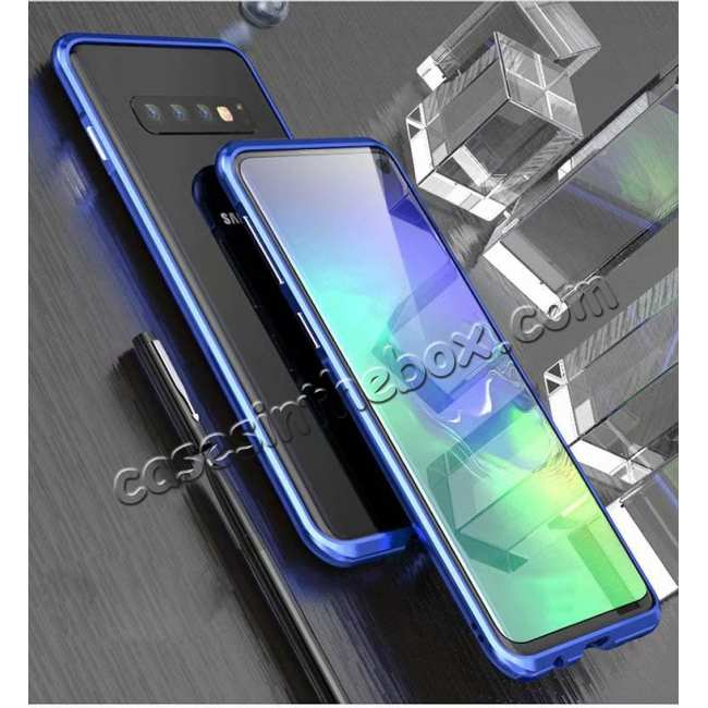 discount Shockproof Aluminum Metal Bumper Case for Samsung Galaxy S10 Plus - Blue