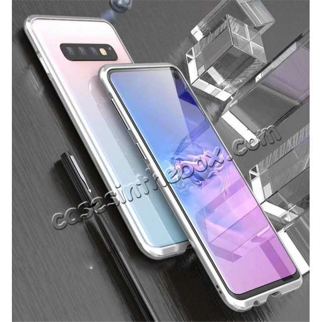 discount Shockproof Aluminum Metal Bumper Case for Samsung Galaxy S10 Plus - Silver