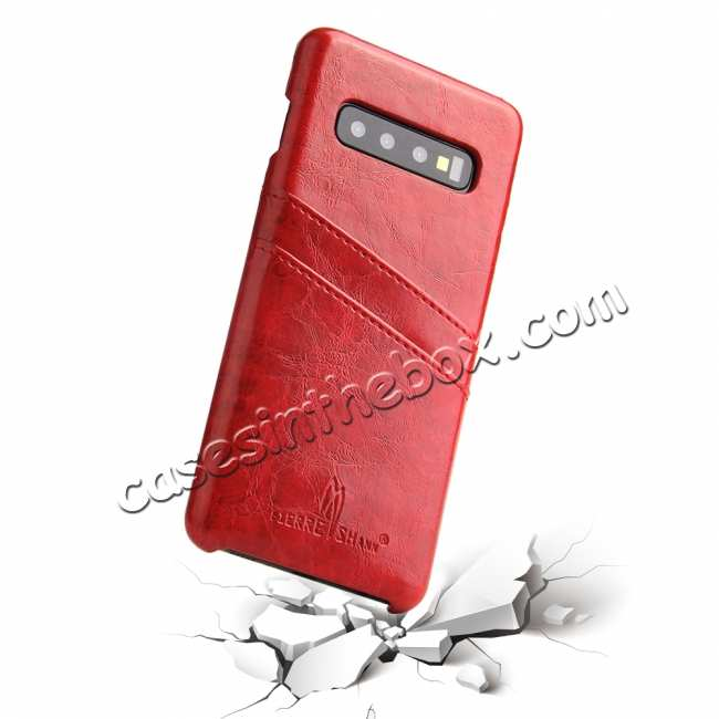 best price For Samsung Galaxy S10 Oil Wax Leather Credit Card Holder Back Case Cover - Red