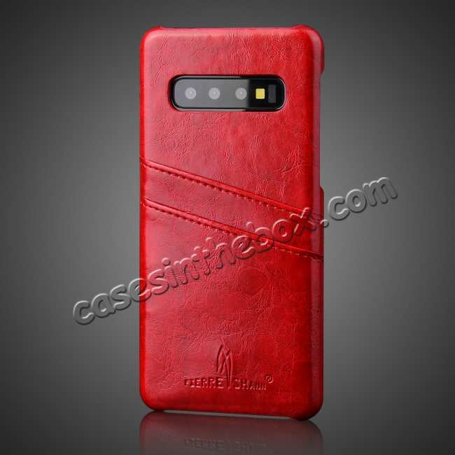 cheap For Samsung Galaxy S10 Oil Wax Leather Credit Card Holder Back Case Cover - Red