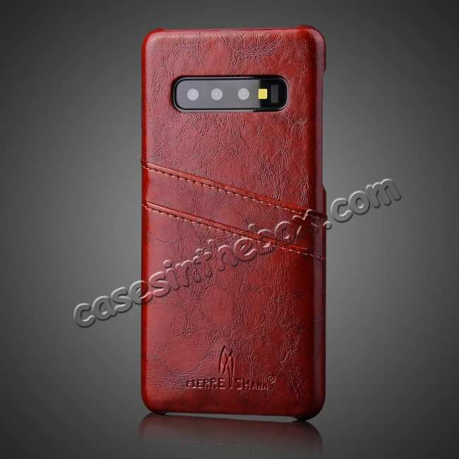 cheap For Samsung Galaxy S10 Oil Wax Leather Credit Card Holder Back Case Cover - Brown