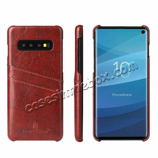 wholesale For Samsung Galaxy S10 Oil Wax Leather Credit Card Holder Back Case Cover - Brown