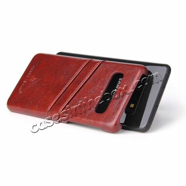 top quality For Samsung Galaxy S10 Oil Wax Leather Credit Card Holder Back Case Cover - Brown