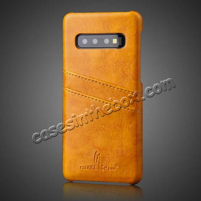cheap For Samsung Galaxy S10 Oil Wax Leather Credit Card Holder Back Case Cover - Yellow