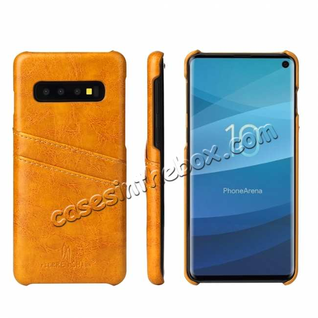 wholesale For Samsung Galaxy S10 Oil Wax Leather Credit Card Holder Back Case Cover - Yellow
