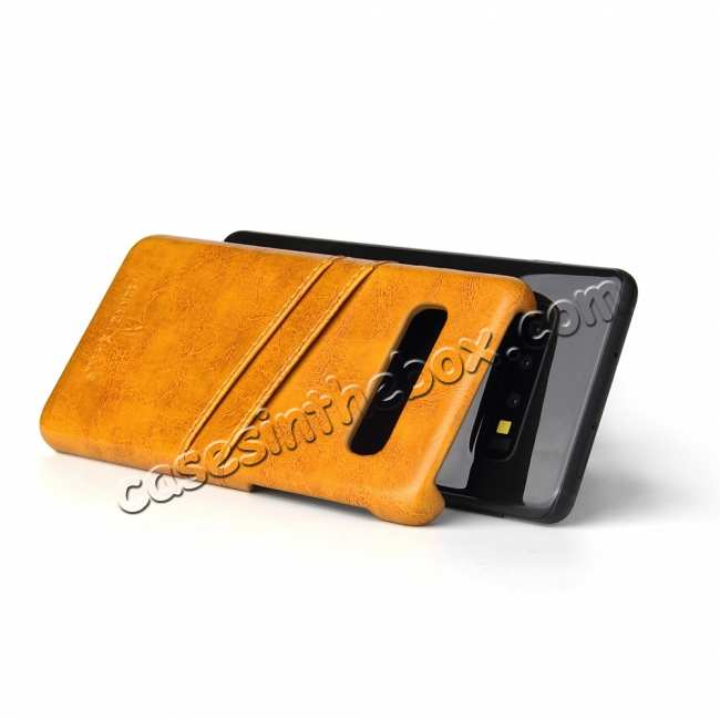 top quality For Samsung Galaxy S10 Oil Wax Leather Credit Card Holder Back Case Cover - Yellow