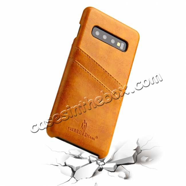 best price For Samsung Galaxy S10 Oil Wax Leather Credit Card Holder Back Case Cover - Yellow