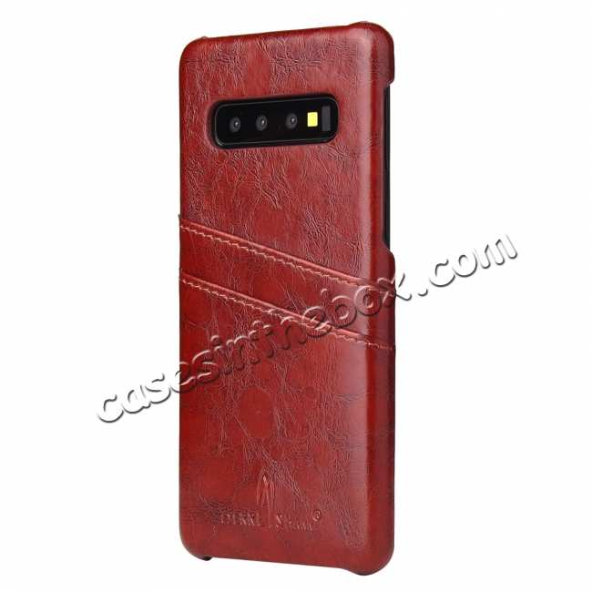 cheap Oil Wax PU Leather  Back Case Cover for Samsung Galaxy S10 Plus - Brown