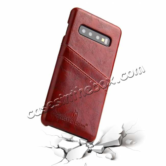 best price Oil Wax PU Leather  Back Case Cover for Samsung Galaxy S10 Plus - Brown