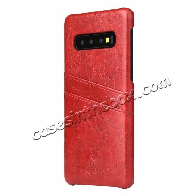 cheap Oil Wax PU Leather  Back Case Cover for Samsung Galaxy S10 Plus - Red