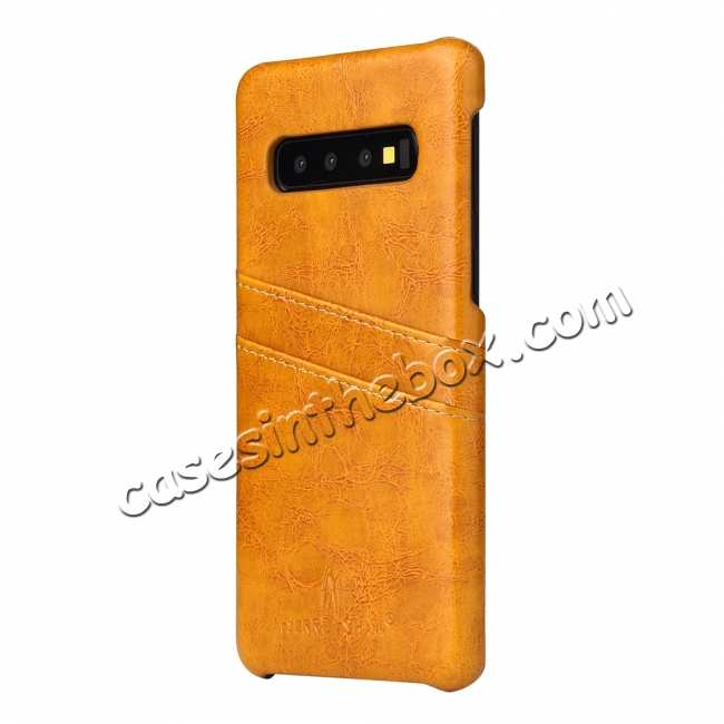 cheap Oil Wax PU Leather  Back Case Cover for Samsung Galaxy S10 Plus - Yellow