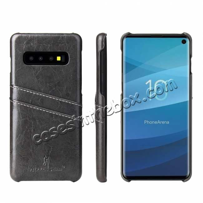 wholesale Oil Wax PU Leather  Back Case Cover for Samsung Galaxy S10 Plus - Dark Grey