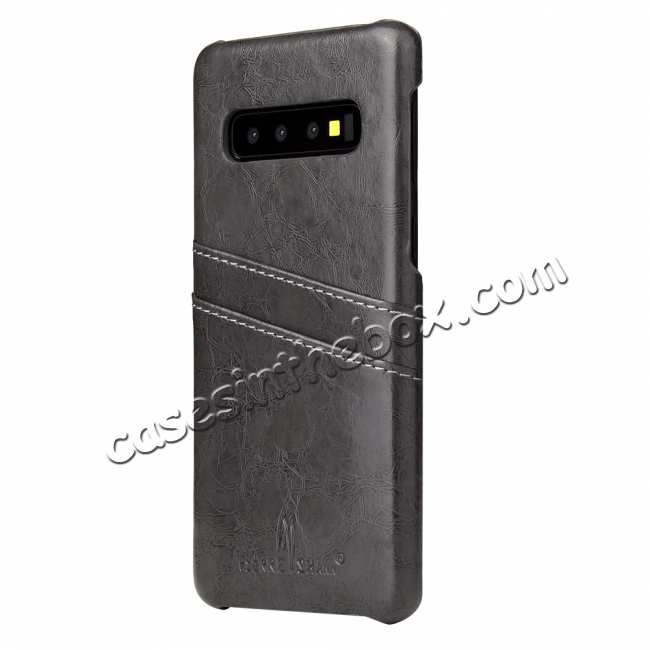 cheap Oil Wax PU Leather  Back Case Cover for Samsung Galaxy S10 Plus - Dark Grey