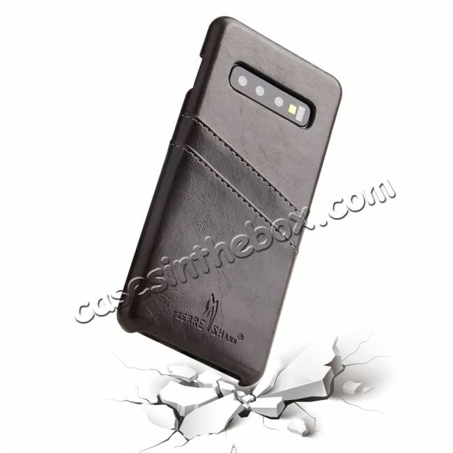 best price Oil Wax PU Leather  Back Case Cover for Samsung Galaxy S10 Plus - Dark Grey