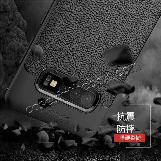 cheap For Samsung Galaxy S10 Shockproof TPU Leather Back Case Cover - Grey