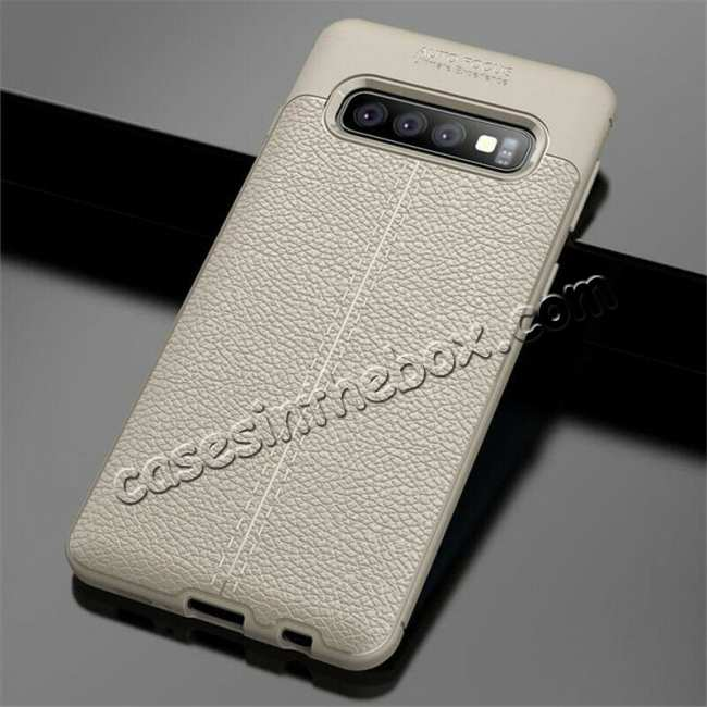 wholesale For Samsung Galaxy S10 Shockproof TPU Leather Back Case Cover - Grey