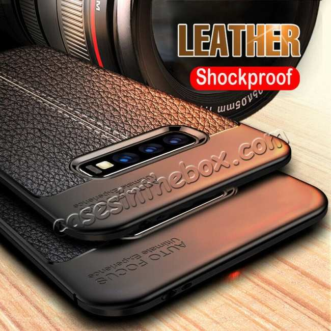 discount For Samsung Galaxy S10 Shockproof TPU Leather Back Case Cover - Black