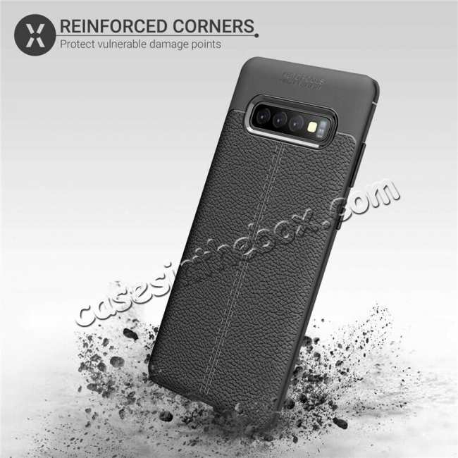 best price For Samsung Galaxy S10 Shockproof TPU Leather Back Case Cover - Black