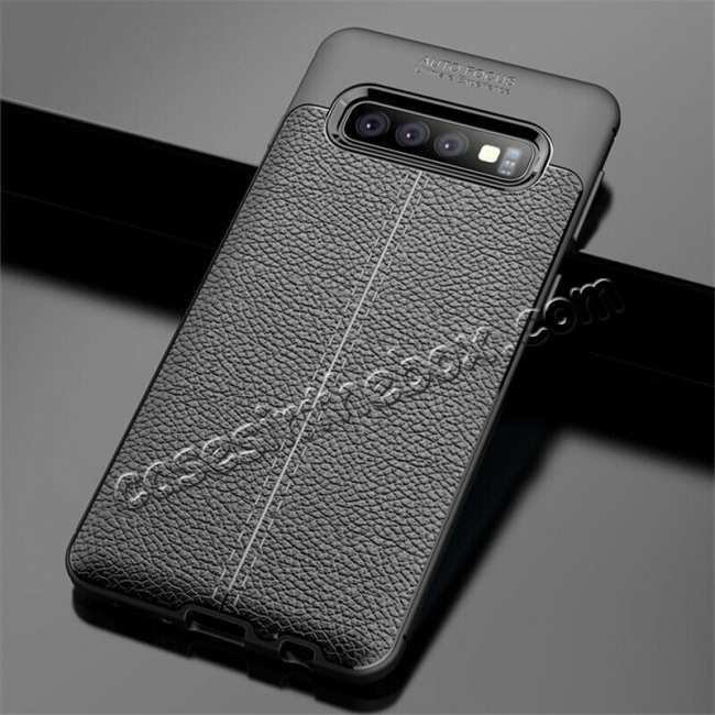 wholesale For Samsung Galaxy S10 Shockproof TPU Leather Back Case Cover - Black